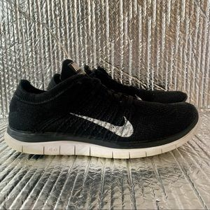 Nike Womens Free 4.0 Flyknit Running Shoes Black 631050-001 Low Top Lace Up Sz 9